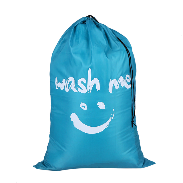 1pc Large Foldable Nylon Washing Clothes Laundry Bag Dirty Clothe Storage With Drawstring Closure For