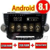 Topnavi 10,1 Octa Core Android 8,1 ПК автомобиля gps для Toyota Highlander 2008 2009 2010 2011 2012 2013 2014 мультимедиа аудио, NO DVD