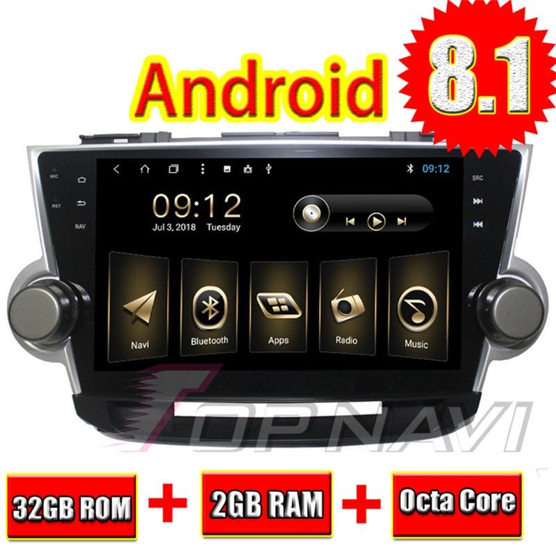 Topnavi 10.1 Octa base Android 8.1 PC De Voiture GPS pour Toyota Highlander 2008 2009 2010 2011 2012 2013 2014 multimédia Audio, AUCUN DVD