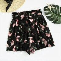 Bow tie belt Flower print shorts female, black elastic belt on lacing free bottom mid waist Shirts