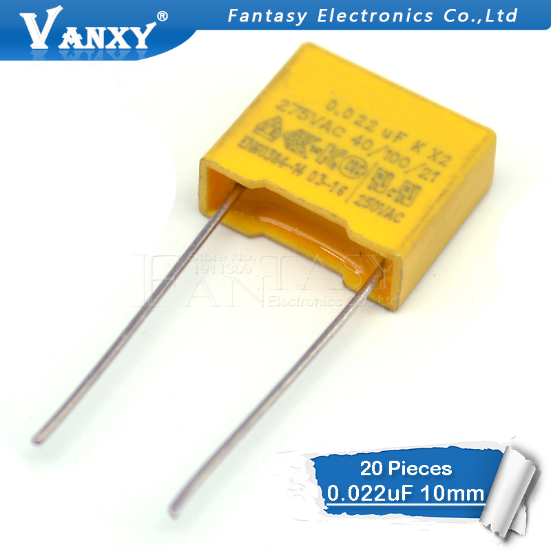 20pcs Capacitor X2 Capacitor 275VAC X2 Polypropylene Film Capacitor 0.022uF 22nF Pitch 10mm