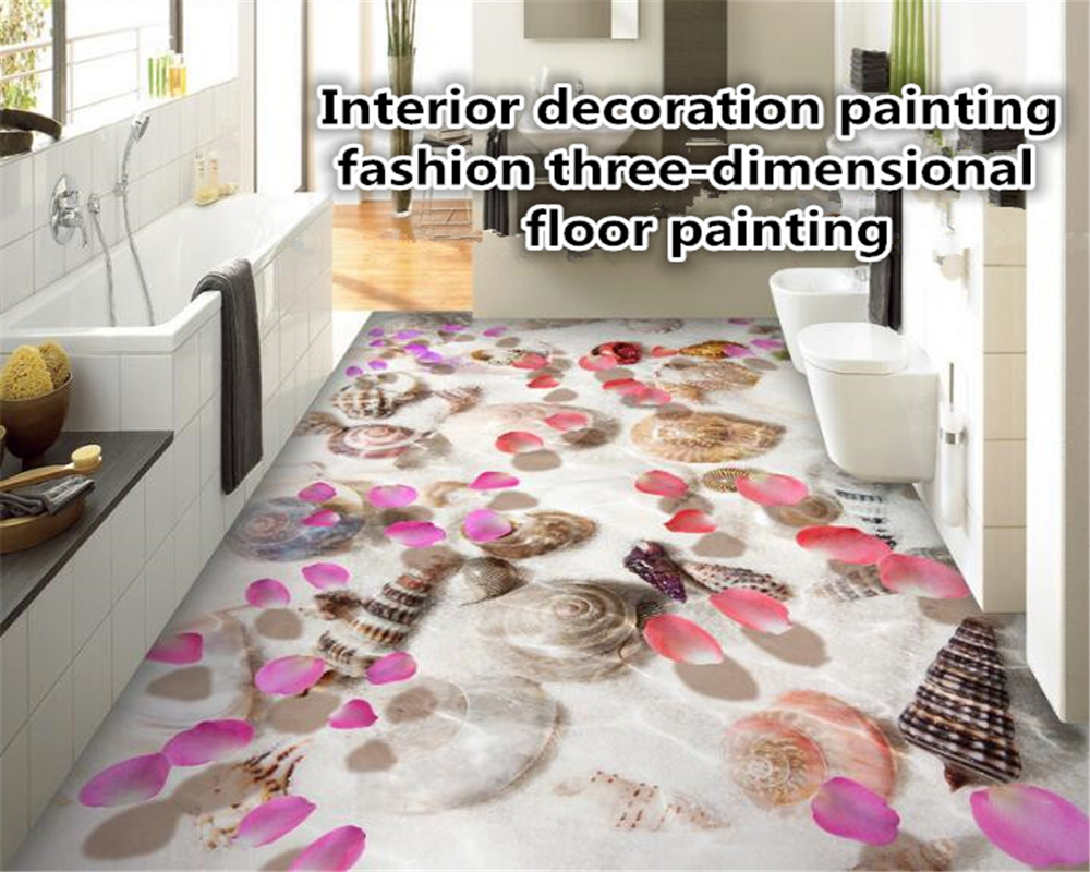 beibehang papier peint Advanced 3d flooring on the floor of the film shell water bath floor tiles papel de parede 3d wallpaper environmentally friendly pvc inflatable shell water floating row of a variety of swimming pearl shell swimming ring