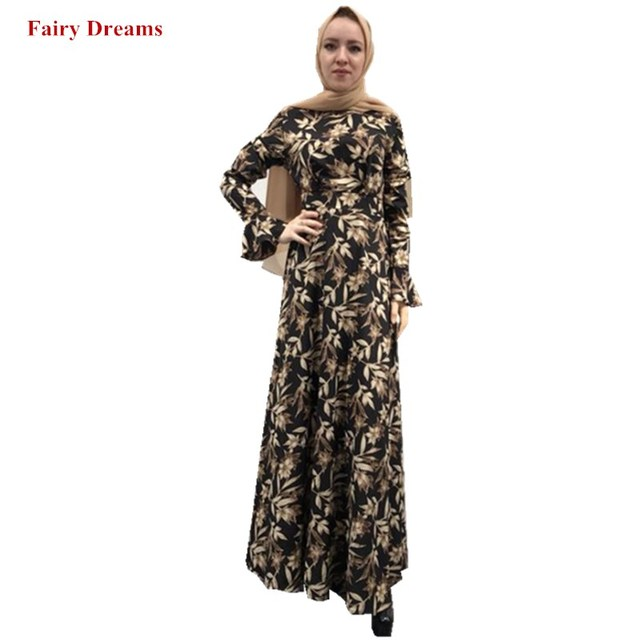 88b0531d2c0 Women Black Abaya Dubai Islamic Clothing Flowers Print Maxi Muslim Dress  Elegant Bangladesh Kaftan Turkey Long Sleeve Robe 2019