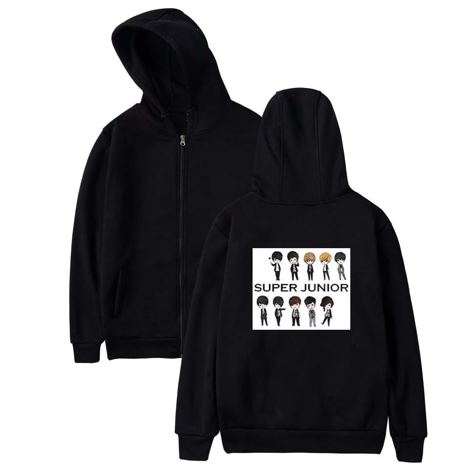 SMZY Super Junior Zipper Women Winter Sweatshirts Fashion Hip Hop Hoodies Women Cotton Casual Popular Korea Kpop Fans Clother