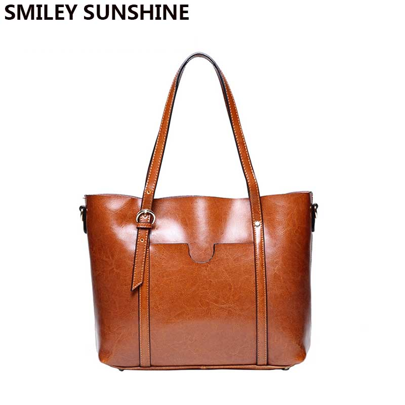 SMILEY SUNSHINE Oil wax patent genuine leather bags female vintage big tote ladies shoulder bags women