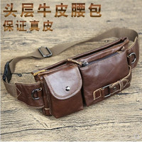 Geniune Leather Belt Bag Men Retro Multifunction Waist Bag Fanny Pack for Men Women Travel Mobile Phone Pouch Chest Pack