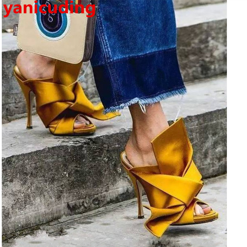yanicuding Brand Peep Toe High Thin Heel Satin Women Slipper Bow Tie Embellish Women Slides Street Style Runway Super Star Shoes super slipper taipei