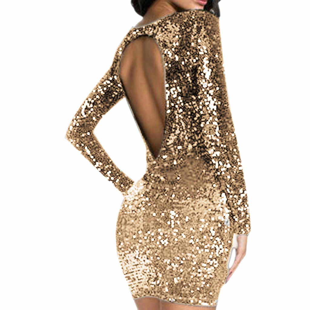Elegant evening party dress of women long sleeve bodycon gold short dress for lady Backless sequin female club dress 2019
