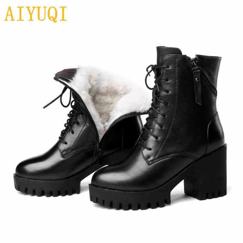 Botas de mujer AIYUQI 2019 nuevas botas de cuero genuino para mujer botas de invierno de lana natural abrigadas botas de moda para mujer