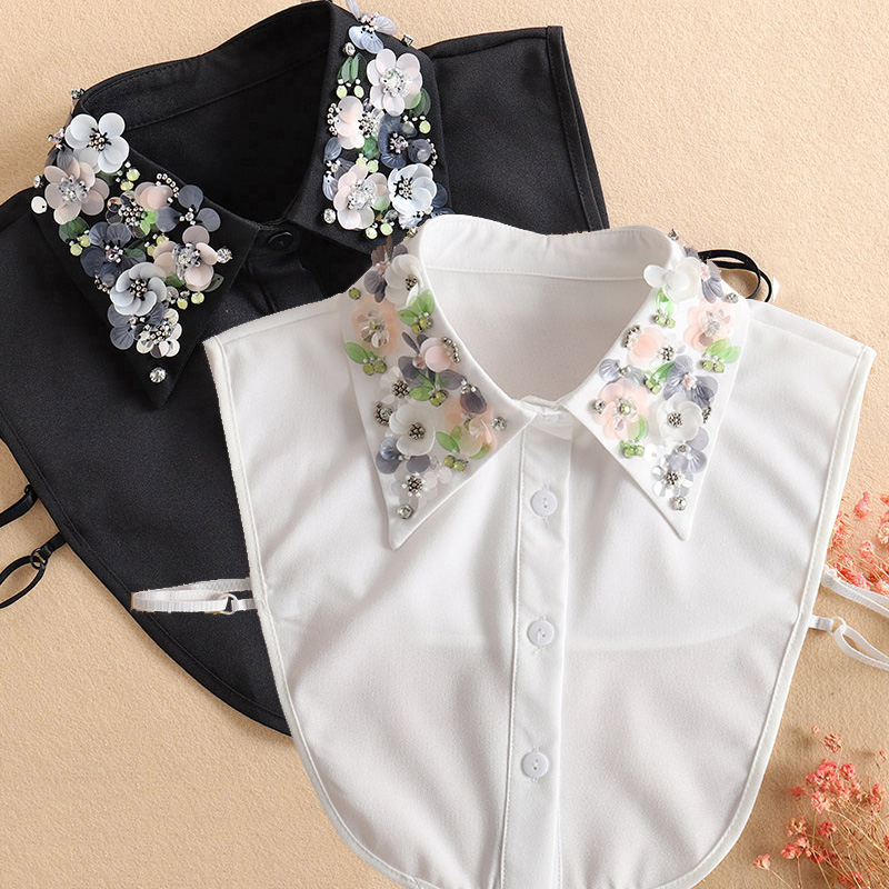 Sequined Womans Detachable Collars White 2020 New Ladies Tie Black False Fake Collar Shirt Women Beading Removable Nep Kraagie