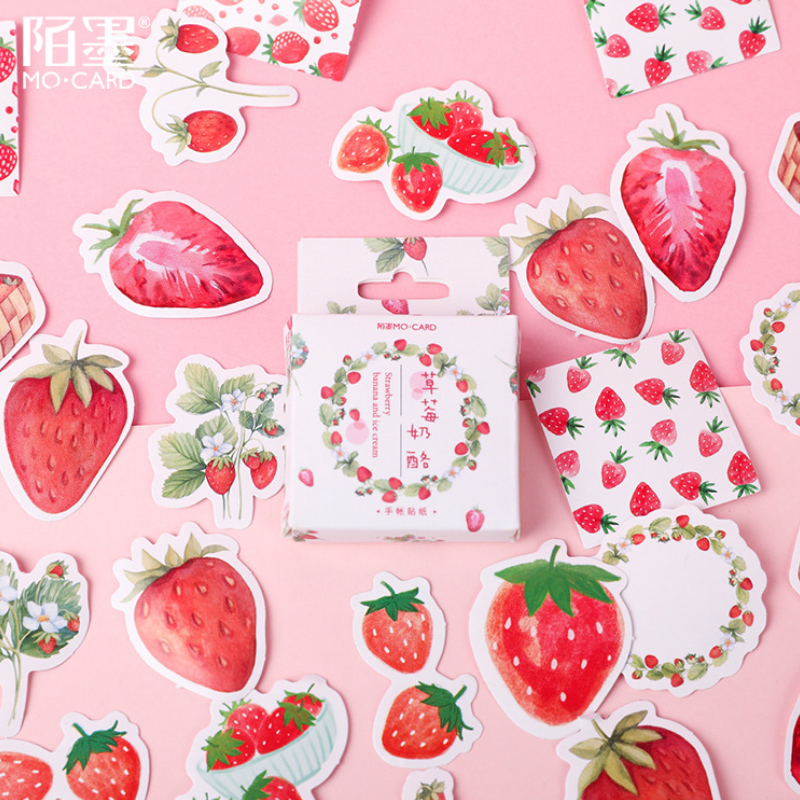 46 Pcs/Lot Fruit Pink Strawberry Decoration Paper Sticker Decoration DIY Album Diary Scrapbooking Label Sticker Kawaii