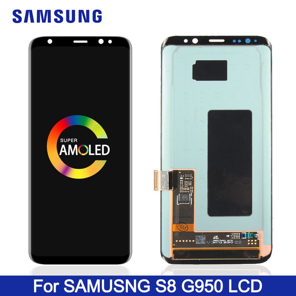 Original Burn-Shadow LCD For Samsung S8 G950 G950U G950F Display Touch Screen Digitizer For S8 Plus G955 G955F With Frame