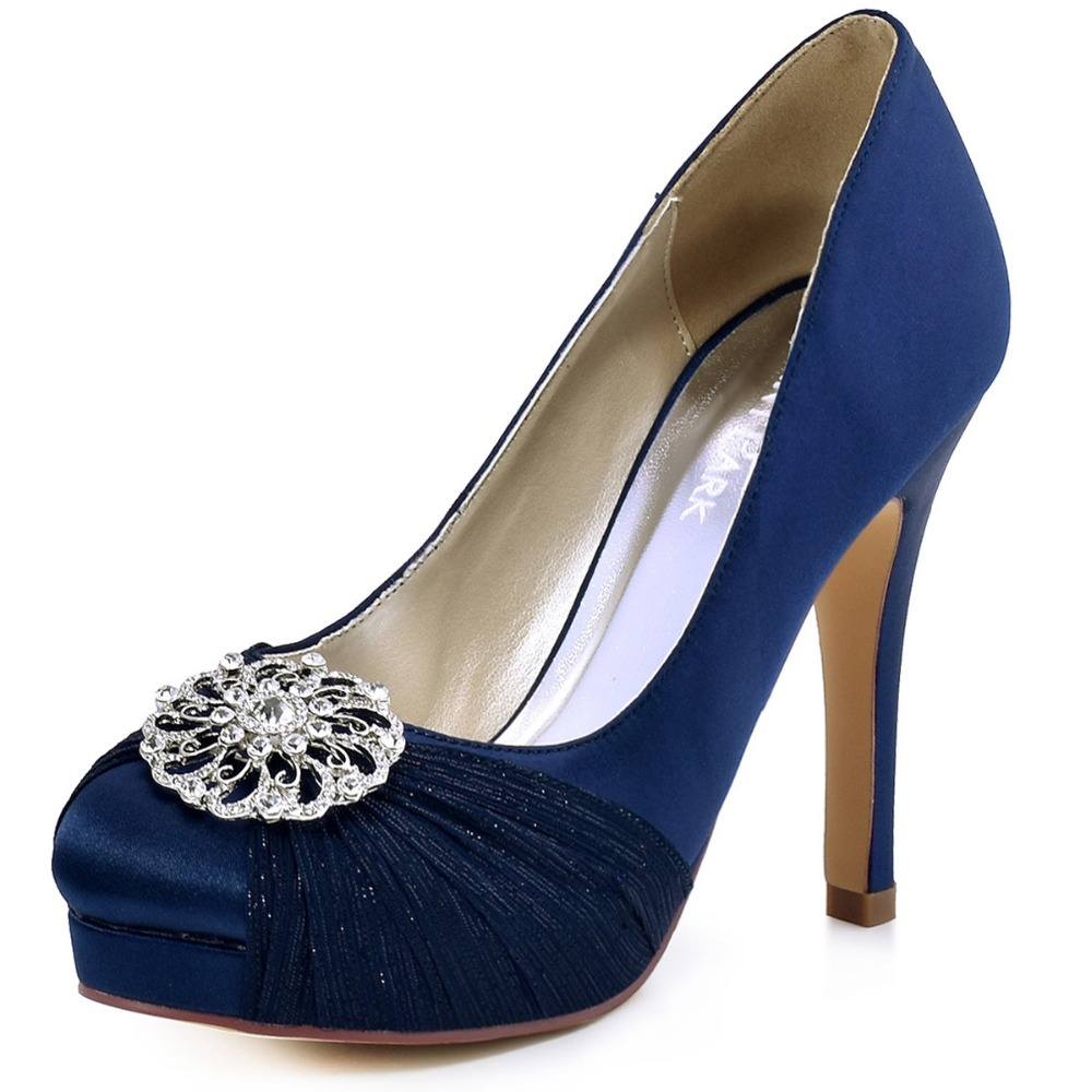 Women Shoes Platfrom Bride High Heel Evening Party Pumps Rhinestones Satin HC1609P Navy Blue Red Lady Bridal Wedding Shoes something red wedding shoes customized sparkly diamond red high heels platfrom party evening shoes italian shoes and bag set