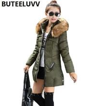 Women Winter Cotton Padded Coat Medium Length Parka Down Jacket Fur Collar Hooded Outerwear 4XL Plus