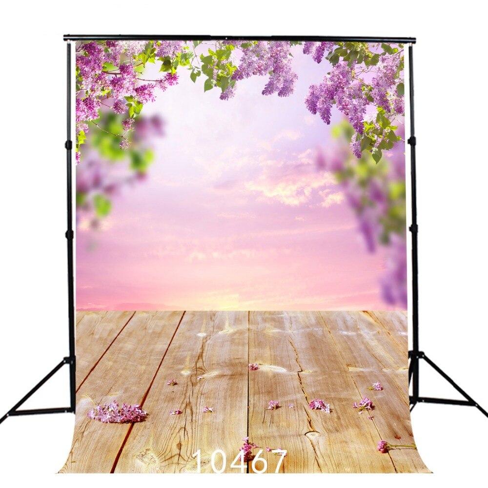 Bokeh Flowers Wedding: Floral Backdrop Spring Sky Bokeh Portrait Door Wooden
