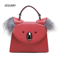 Genuine Leather Bag Brand Women Messenger Bags Koala Designer High Quality Fox Fur Leather Women Bag
