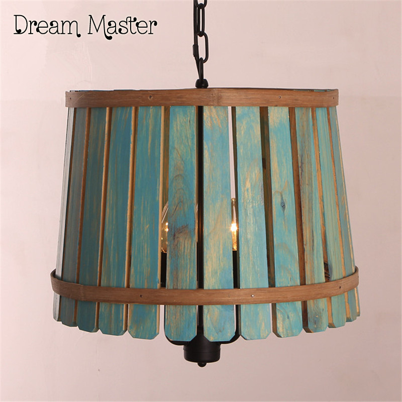 The barrel lamp American country Iron  chandelier wooden bedroom Mediterranean Garden Restaurant balcony retro lamps