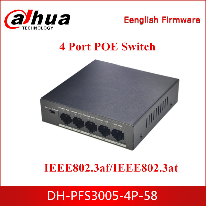 Dahua POE Switches DH-PFS3005-4P-58 4 Port Ethernet Power Switch 250m Power Transit Distance For Security CCTV IP System