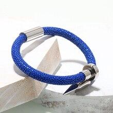 Bracelet Men/blue Stingray Genuine Leather Stainless Steel Nail Bracelets Bangles Cuff Bracelet for Men Stingray Jewelry Gifts цена 2017