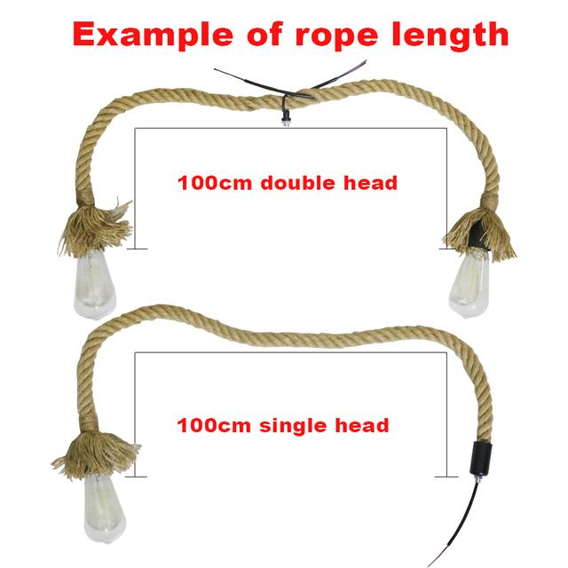 Vintage Hemp Rope Pendant Light AC90-260V E27 Loft Creative Personality Industrial Pendant Lamp for Restaurant Coffee Bar
