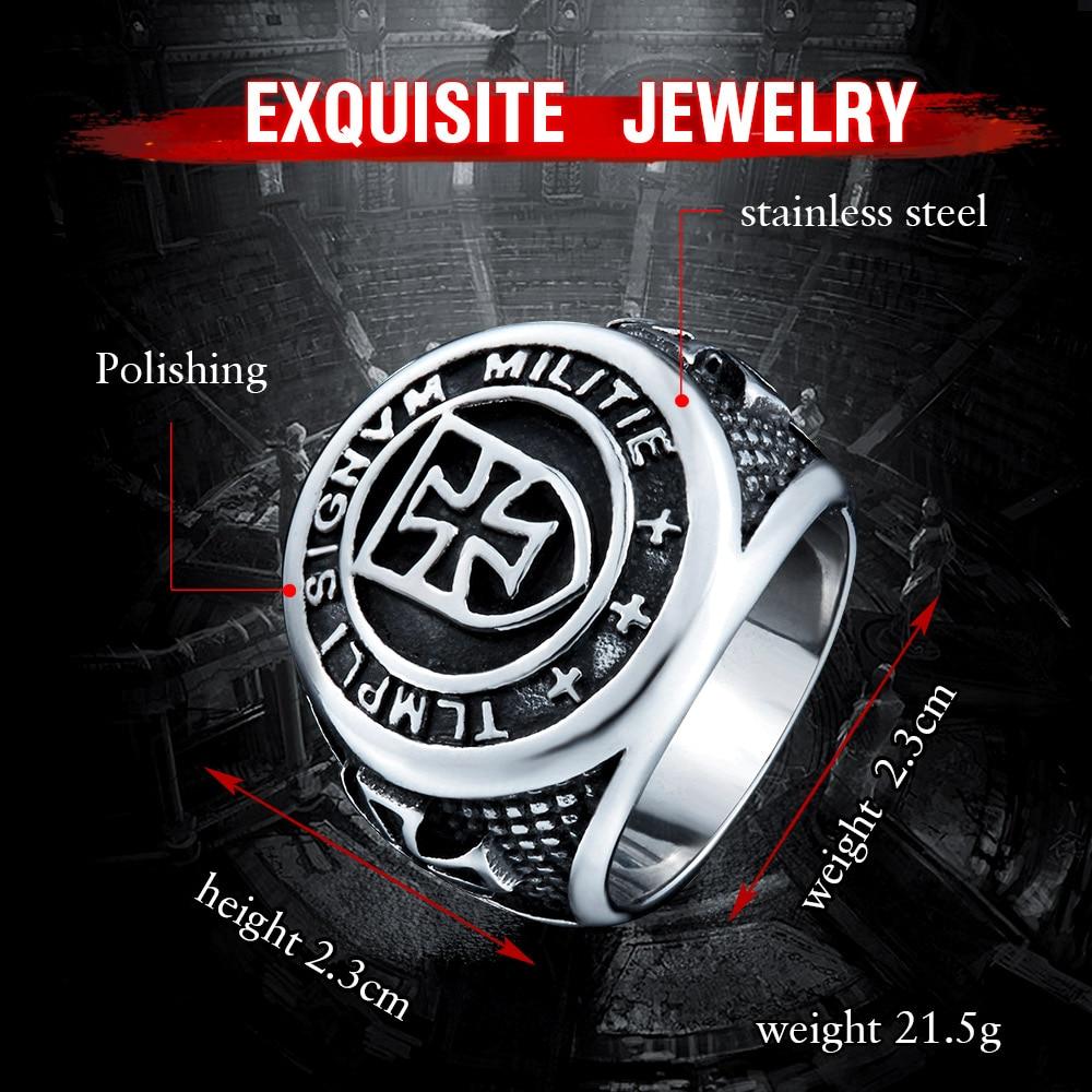 Kedatangan baru lintas ksatria Templar cincin, Pria stainless steel - Perhiasan fashion - Foto 4