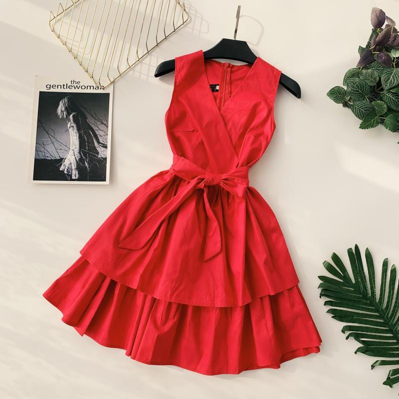 Korean Vintage Pure V Collar Sleeveless High Waist Bow Tie Double Ruffle Holiday Dress Women Vestidos E348 60