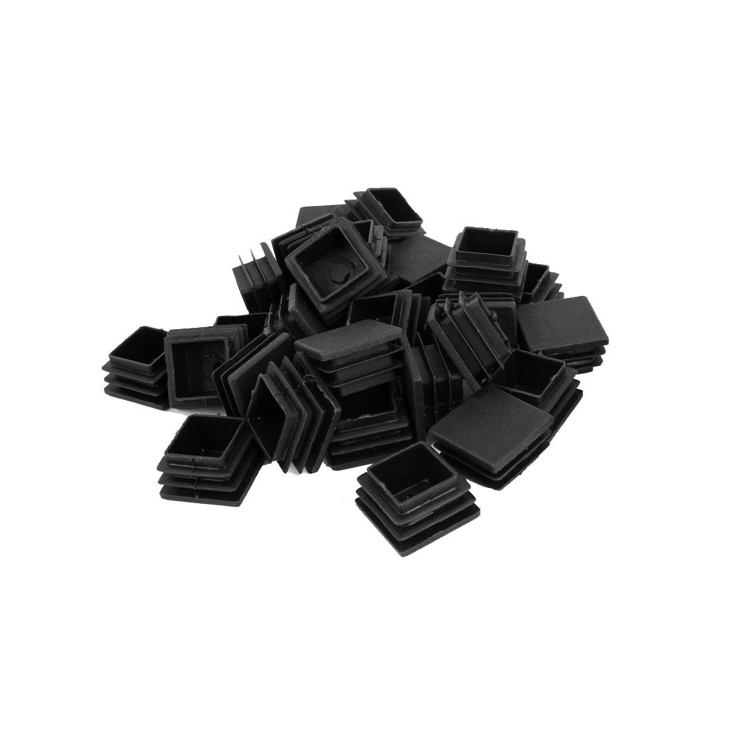 Durable Plastic Square Tube Inserts End Blanking Table Leg Caps Chair Floor Feet Cap Protector 30mm X 30mm 30 Pcs Black