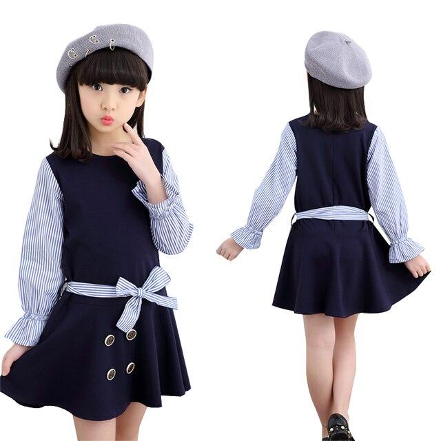 2d3f2967228 Filles Princesse Robes de Soirée 4 À Manches Longues Rayé Enfants Robes  Pour filles 6 Preppy