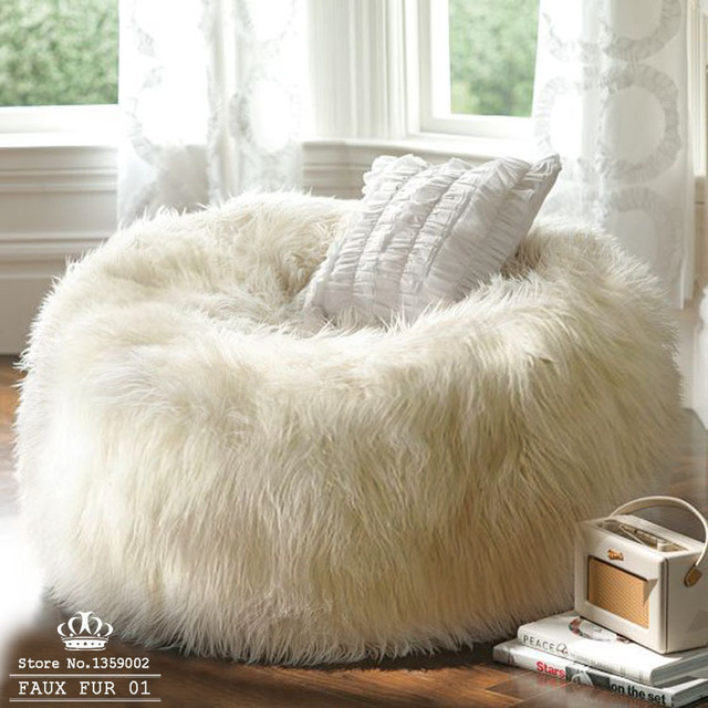 af386e78d2 Free shipping sofa set living room furniture luxe bean bag cover faux fur  adult outdoor faux fur 01 lounge Chair corner sofa bed