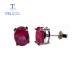 simple design small earring natural gemstone African ruby with 925 sterling silver fine jewelry for women daily wear nice gift