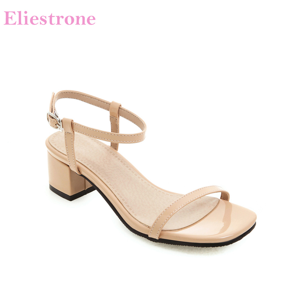 Brand New Fashion Apricot Yellow Women Sandals Rome 2 Inch Heels Lady Nude <font><b>Shoes</b></font> HG930 Plus Big Small Size 3 11 <font><b>30</b></font> 43 46 52 image