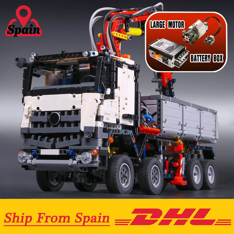 Hiszpania DHL 20005 Technic serii Arocs model ciężarówki klocki klocki klasyczne kompatybilny 42043 na zabawki dla dzieci w Klocki od Zabawki i hobby na  Grupa 1