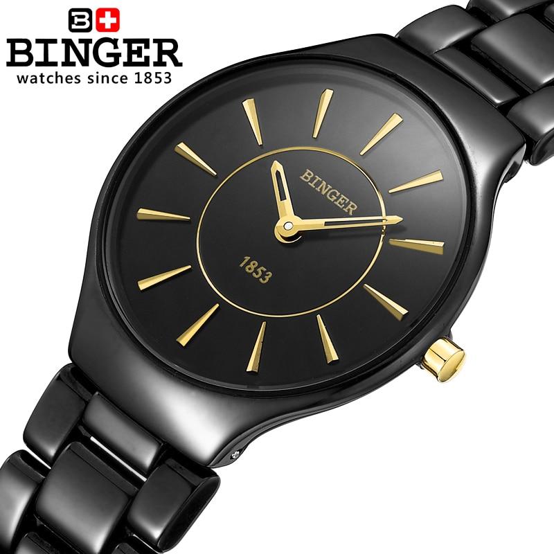 Fashion Lovers Style Switzerland Binger Ceramic Quartz Watch Women luxury brand Female Wristwatches Waterproof Clock B8006