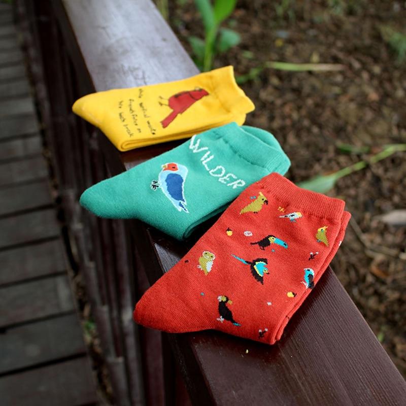 PEONFLY cute animal husky embroidery women cotton socks lovely bird Parrot Jacquard female pure color socks funny meias socks