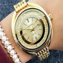 2017 Nuevo Lujo Famosa Marca Vestido de Las Mujeres Relojes de Acero Reloj de Cuarzo Relogio Feminino Relojes de Oro para Mujer Reloj Casual