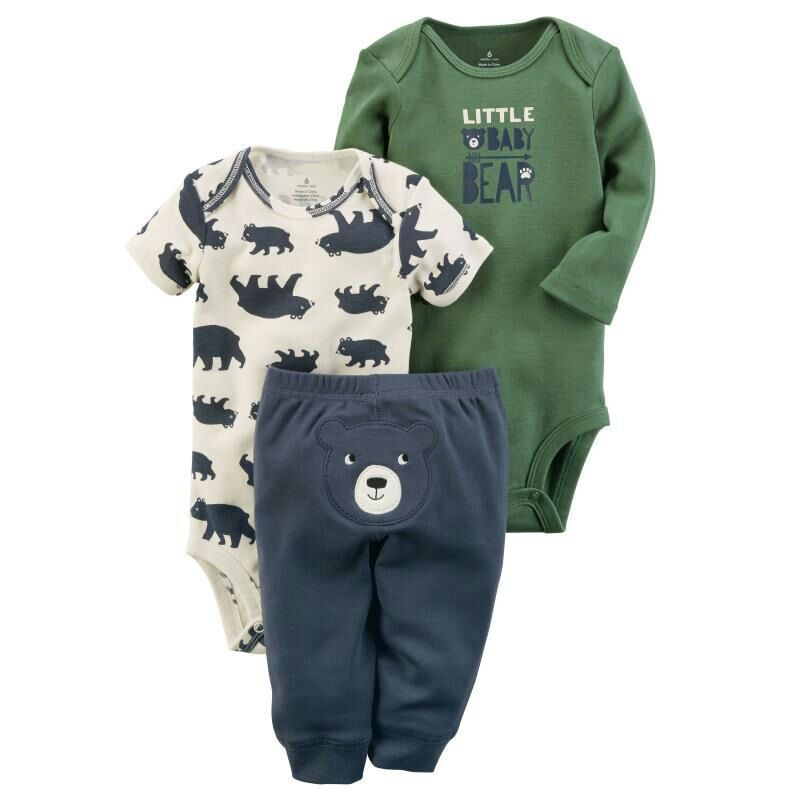 Baby Boy Clothes Set 2018 Fashion Style Newborn Children Infant Cute Animal Bodysuits 3pcs Short Sleeve+Short Sleeve+Baby Pants
