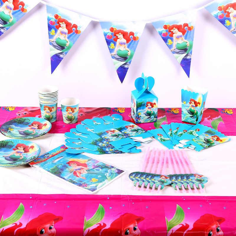 Вечерние украшения русалки, сувениры, скатерть, подстаканник, соломенная салфетка, Подарочная сумка, свечи, конфета попкорн, коробка для детей на день рождения