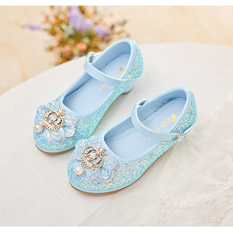 91dc1a48257 US $18.51 25% OFF|Fashion Crown Glittering leather princess shoes girls  shoes toddler high heel kids girls party shoes crystal shoes for girls-in  ...