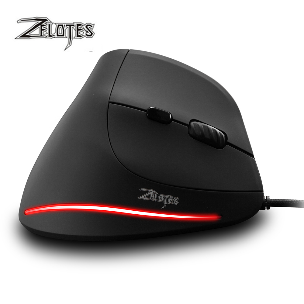 Image 2 - ZELOTES T 20 Vertical Wired Mouse USB Programmable 6 Buttons Optical LED Mice Desktop PC 3200DPI Adjustment 3D Gaming Mouse-in Mice from Computer & Office