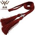 YOUWEL Señoras tejidas A Mano Cinturones Delgados Para Las Mujeres Accesorios Decorativos Cuerda Cadena Del Vientre de la Borla de La Correa De la Cuerda de La Cintura de Las Mujeres Correa de las correas