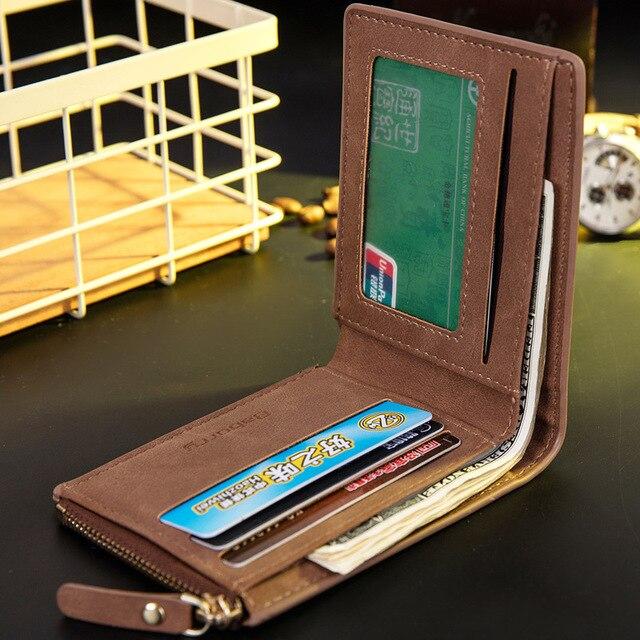 Vitage Zipper Men Wallets Leather Wallet Money Bag Credit Card Holders Dollar Bill Wallet Clutch Purse for Boy Use Short Wallets 4
