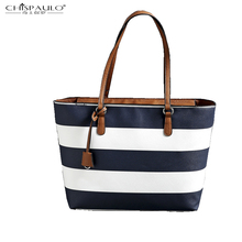 2016 European and American style fashion fringe handbag shoulder bag large capacity bag navy blue stripes
