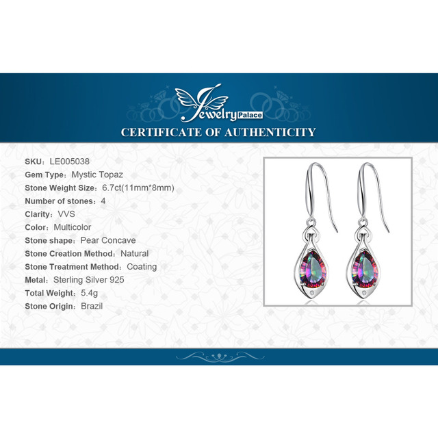 JewelryPalace Drop Earrings For Women Fashion accessories 6.8ct Natural Rainbow Mystic Topaz 925 Sterling Silver Brand Jewelry