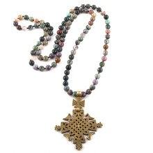 Di modo Della Boemia Tribale Dei Monili Pietre Naturali Lungo Annodato Croce di Metallo Del Pendente Donne Collana Etnica