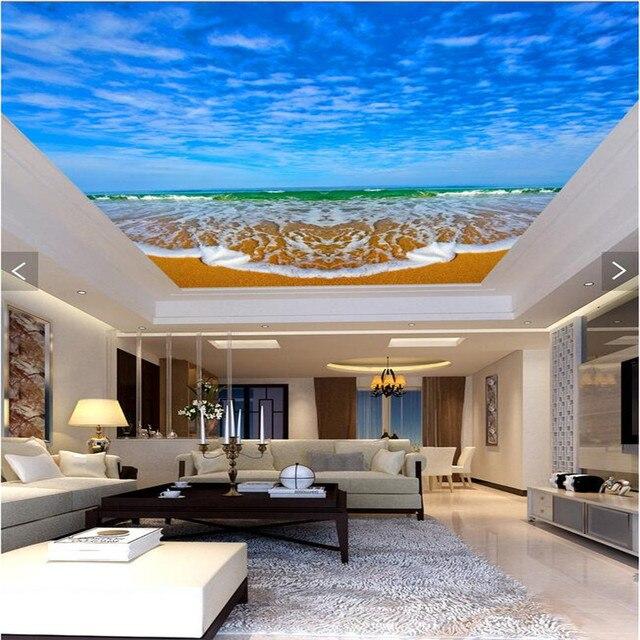 Muurposters papier Moderne Art blue sky witte wolken zee strand ...