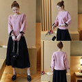 In the spring of 2017 fashion simple T-shirt long sleeved suit dress two piece