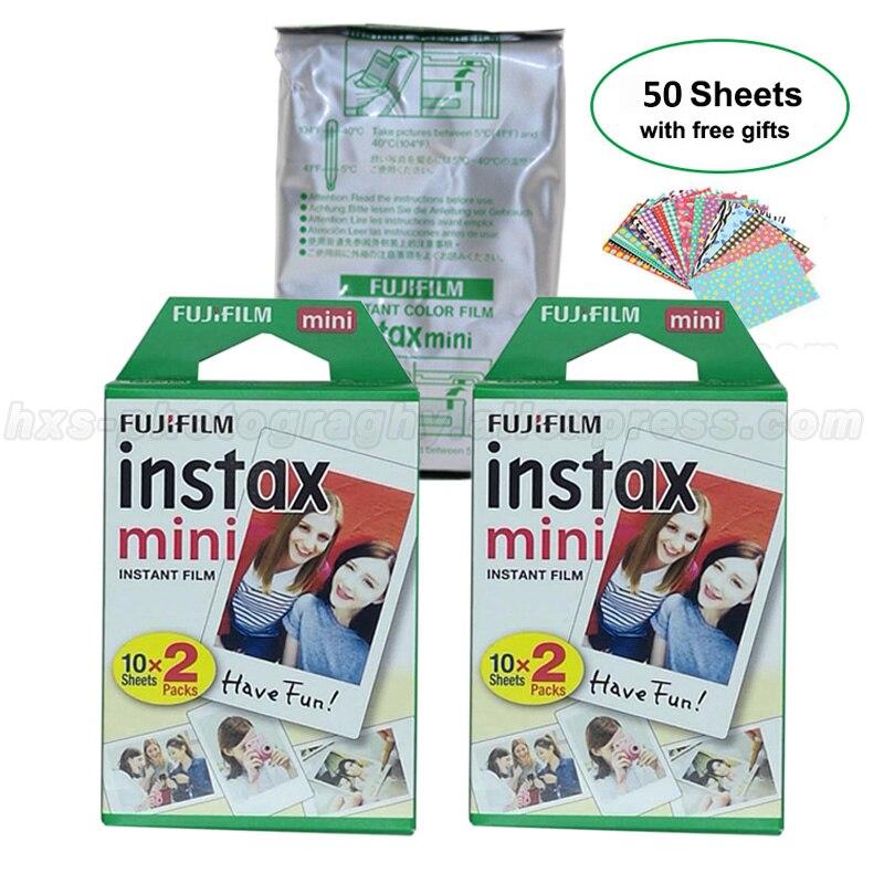Genuine 50 Sheets White Fuji Instax Film Fujifilm Instax Mini 9 Film For 9 8 50s 7s 90 25 Instant Camera Share SP-1 SP-2 Printer