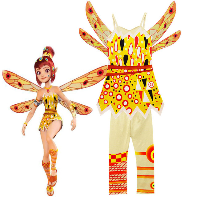Mia yellow Fairy Girls Fancy Dress Costume Party Outfit Mia  cosplay costume give kids Halloween costume