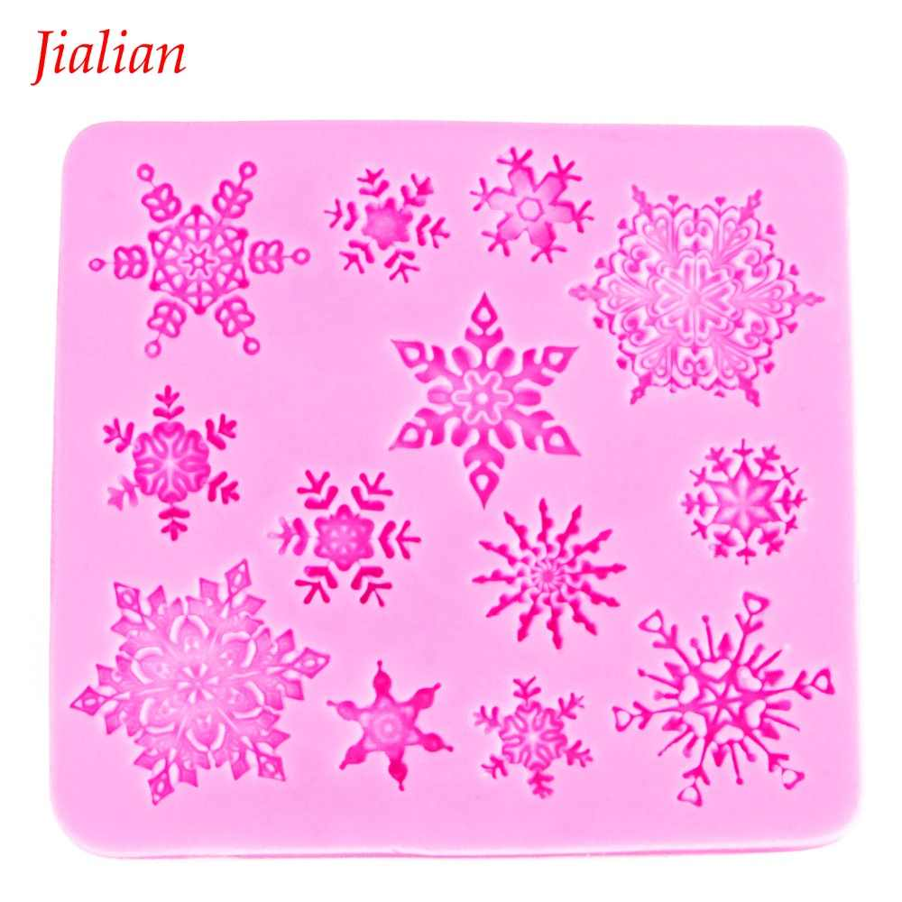 Christmas snowflake Shaped DIY chocolate fondant silicone mould confectionery accessories cupcake decoration Baking tool FT-0026