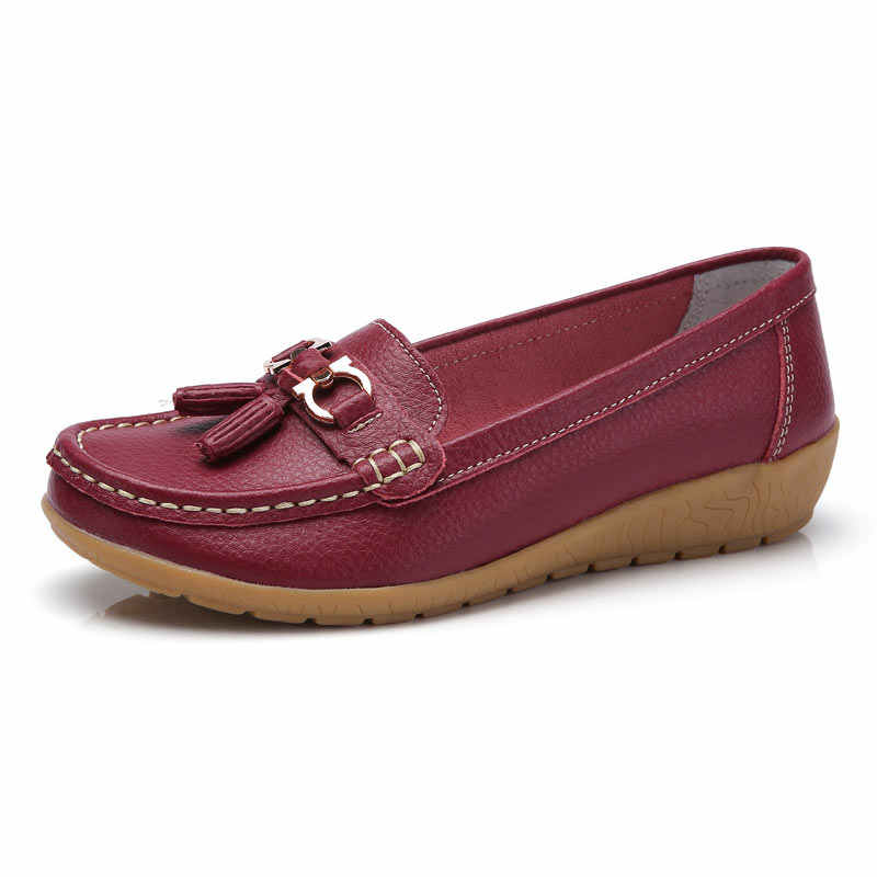 Women Shoes Slip On Genuine Leather Shoes Flats Loafers  Flat Shoes Comfortable  Women Summer Shoes Plus Size